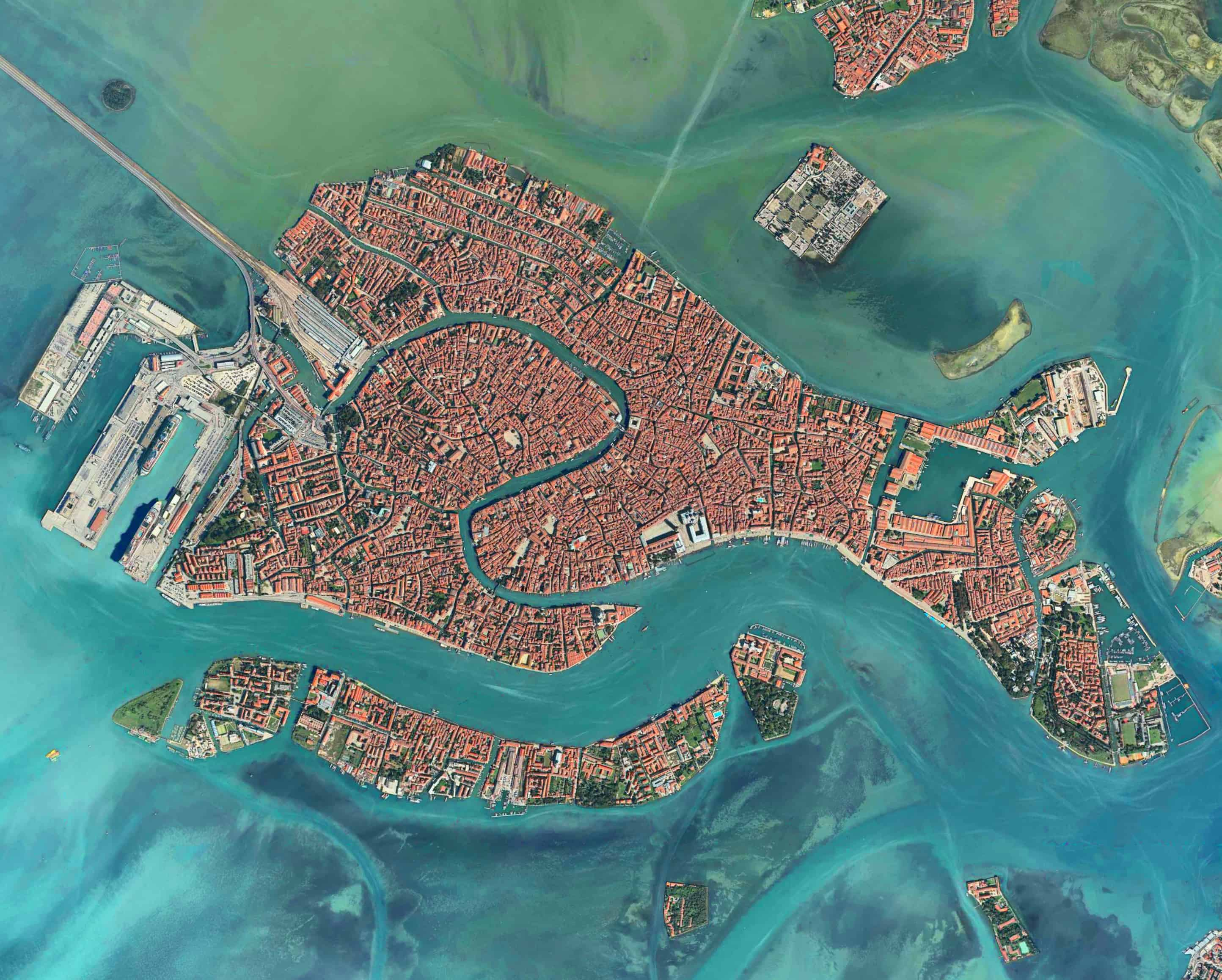 Venice, Italy - Aerial View - Urban Pattern - Red color Houses - Urban Planning